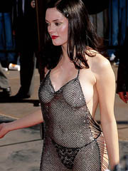Rose Mcgowan nude out in espy thru dress