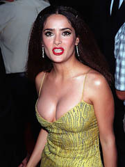 Salma Hayek flaunts her famous cleavage