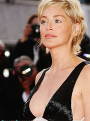 Sharon Stone flashes nice milf cleavage