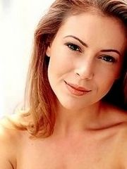 Actress Alyssa Milano shows her..