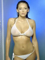 Keeley Hazell displays her awesome wet..