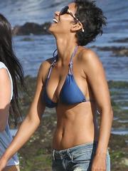 Halle Berry almost denim shorts and..