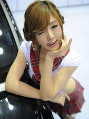 Sexy hottie Hwang Mi Hee in short plaid..