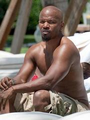 Jamie Foxx shirtless by the poolside