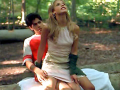 Vampires killer Sarah Michelle Gellar riding guy in the wood