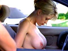 Busty Stephanee LaFleur topless sex scene in car