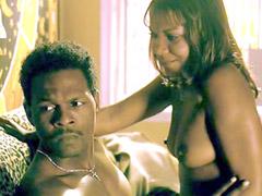Ebony babe Tonia Murphy riding black..
