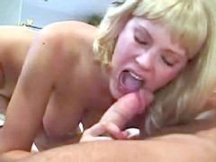 Tracy Smith sucks cock and gets facial..