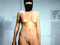 Fully nude Zoe Naylor posing in black mask